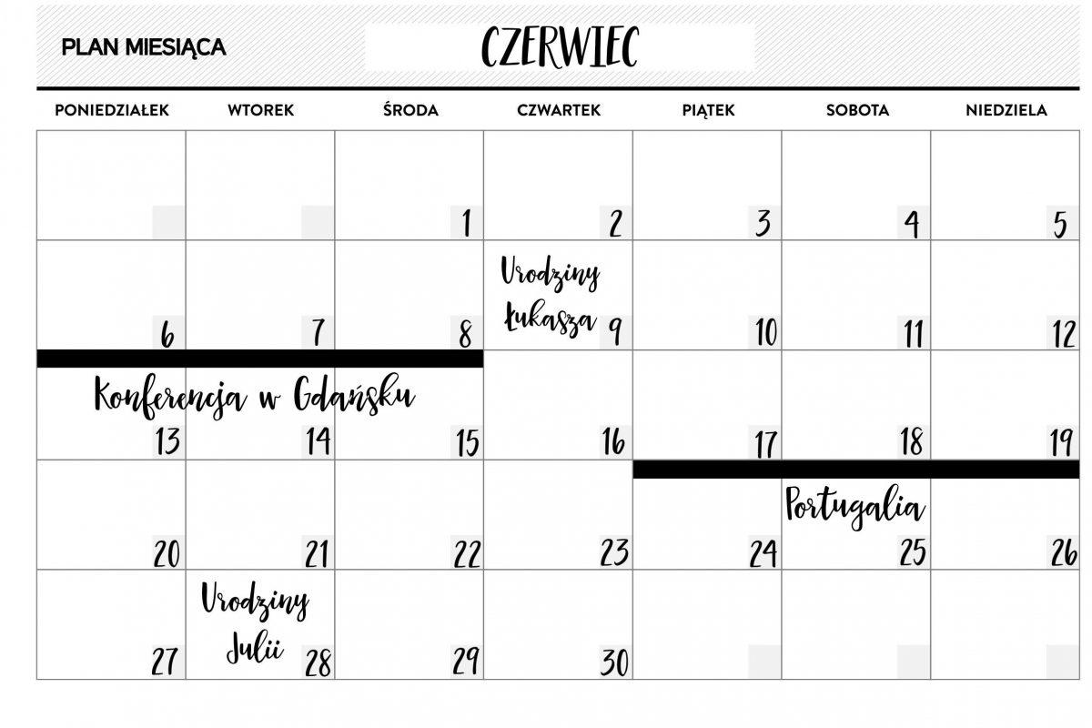 Planer Miesięczny A5 Przykład