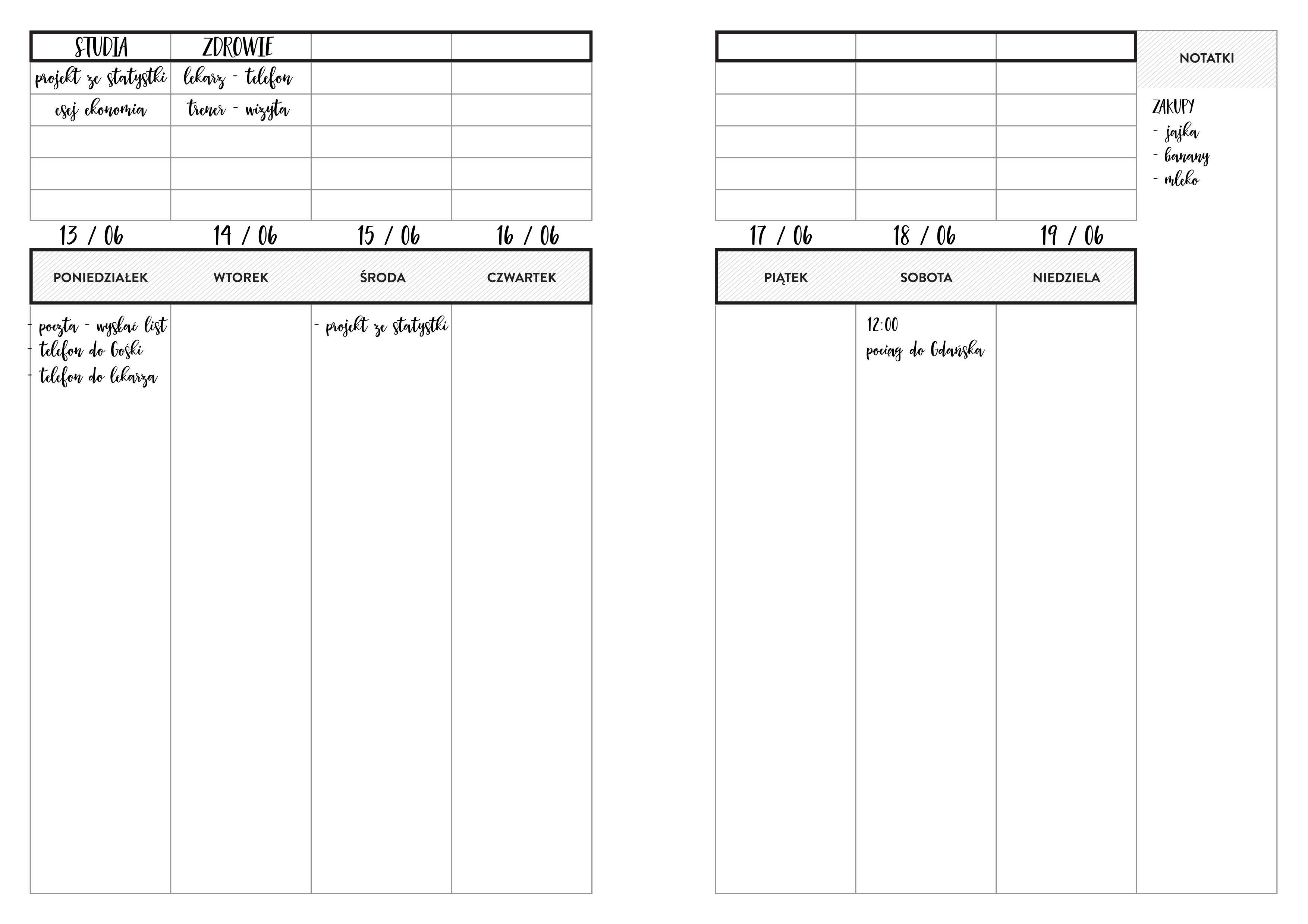 Planer Tygodniowy A4Planer Tygodniowy A4 Przykład
