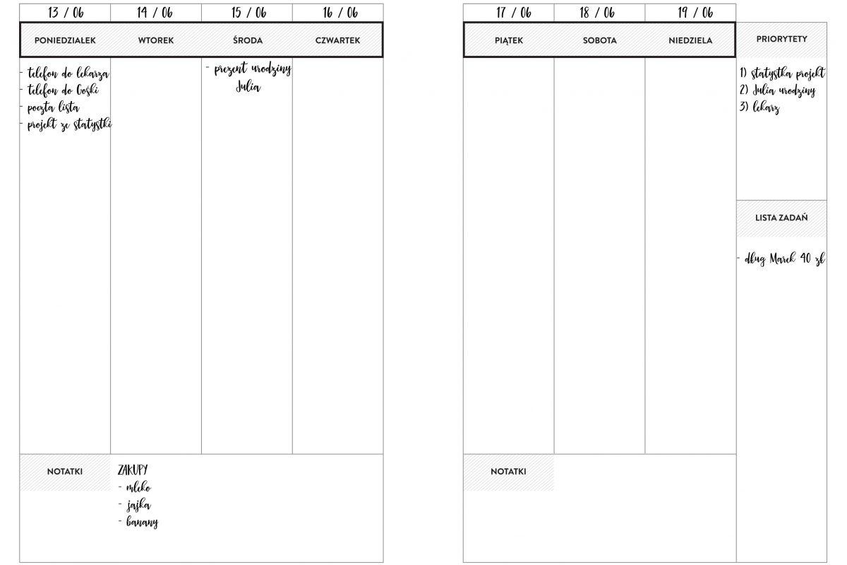 Planer Tygodniowy A4 Przykład