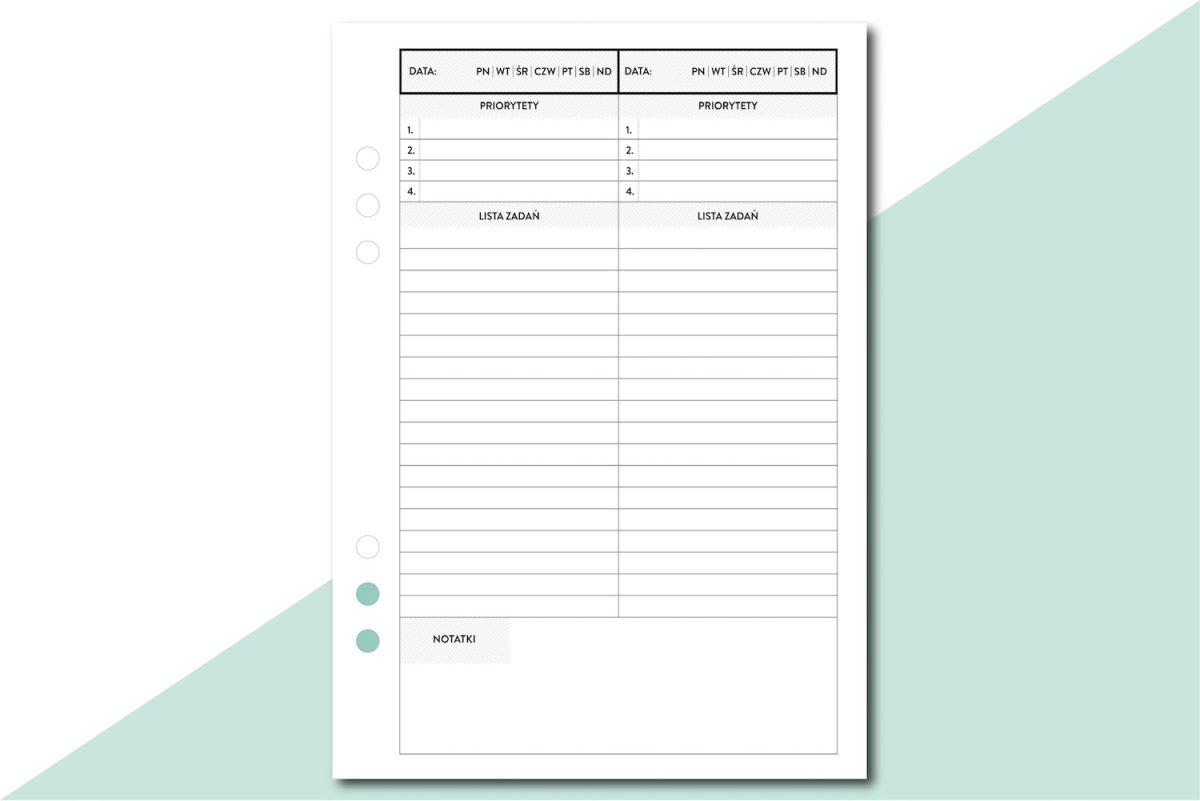 planer dzienny lista zadań to do priorytety wkład do organizera a5