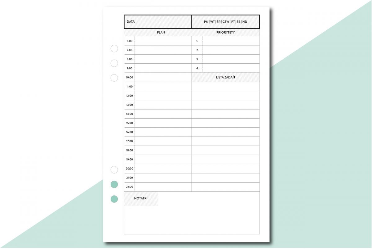 planer dzienny agenda priorytety wkład do organizera a5