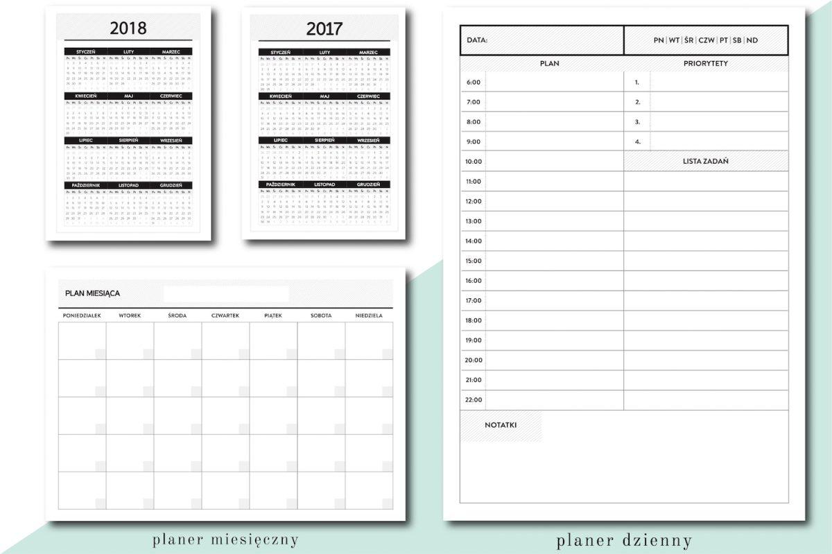 kalendarz 2018 planer dzienny miesięczny wkład do organizera a5