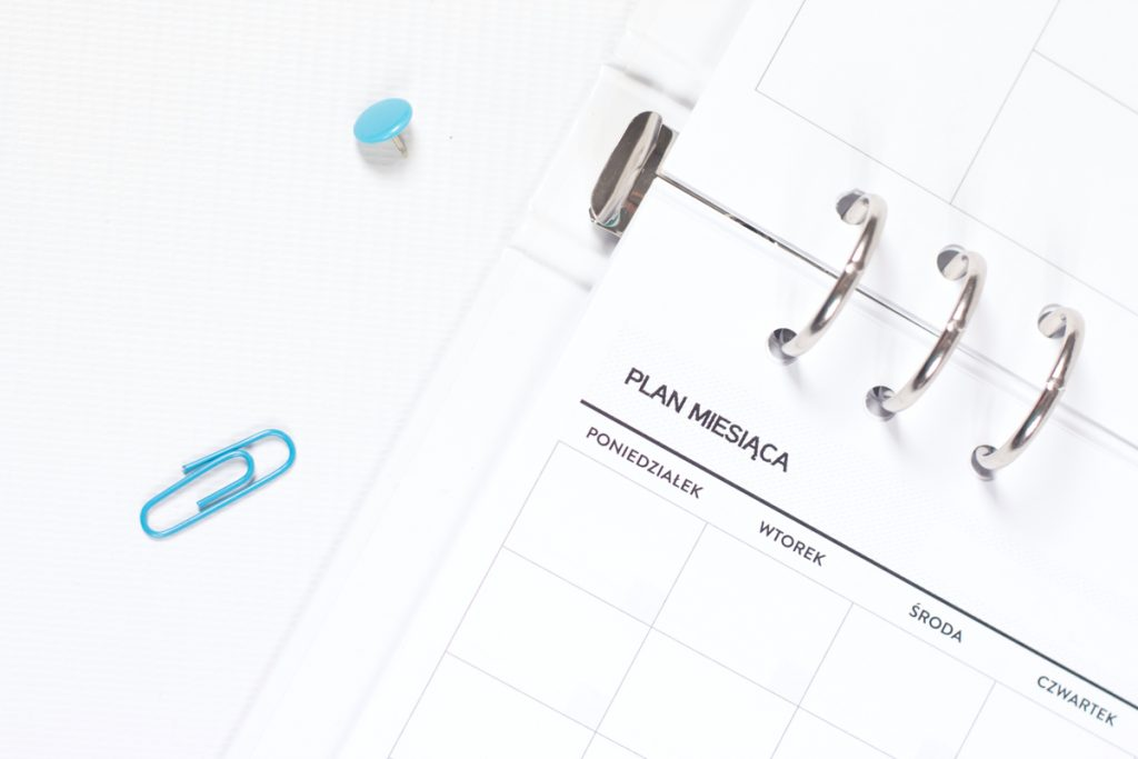 Planer Miesięczny Wkład do organizera