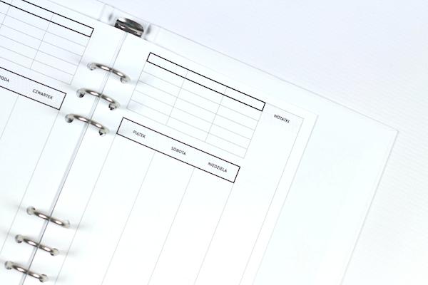 Planer Tygodniowy Wkład do organizera