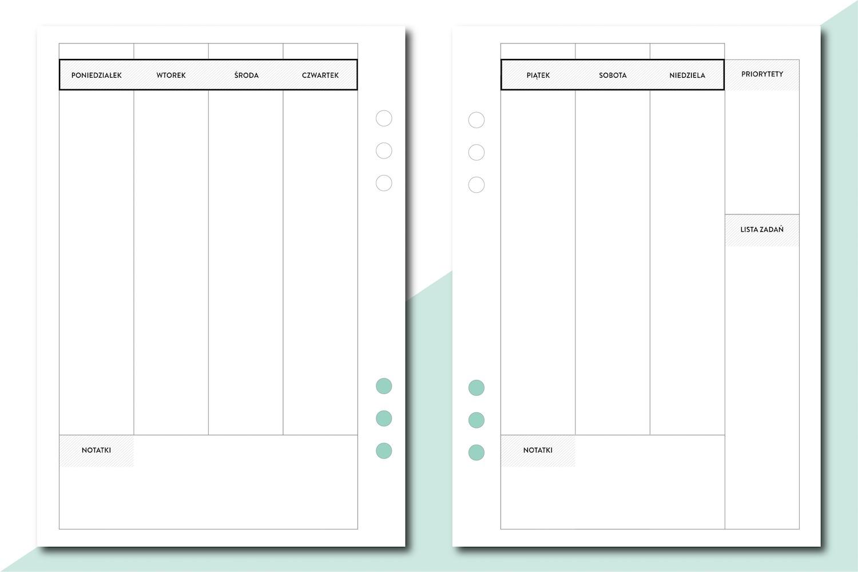 planer tygodniowy wkład do organizera a5 tabela