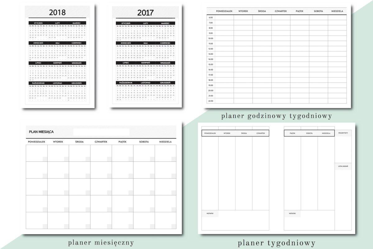 kalendarz 2018 planer tygodniowy miesięczny wkład do organizera a5