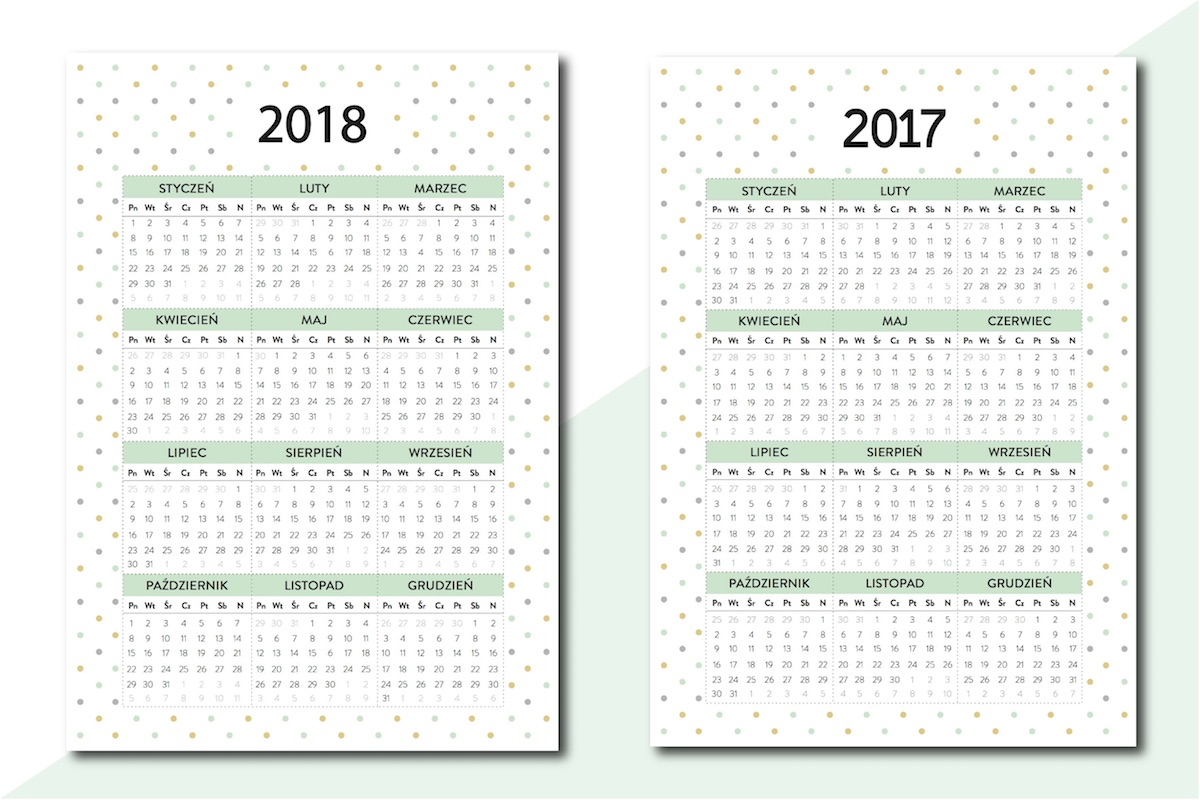 kalendarz 2018 do druku PDF pobrania