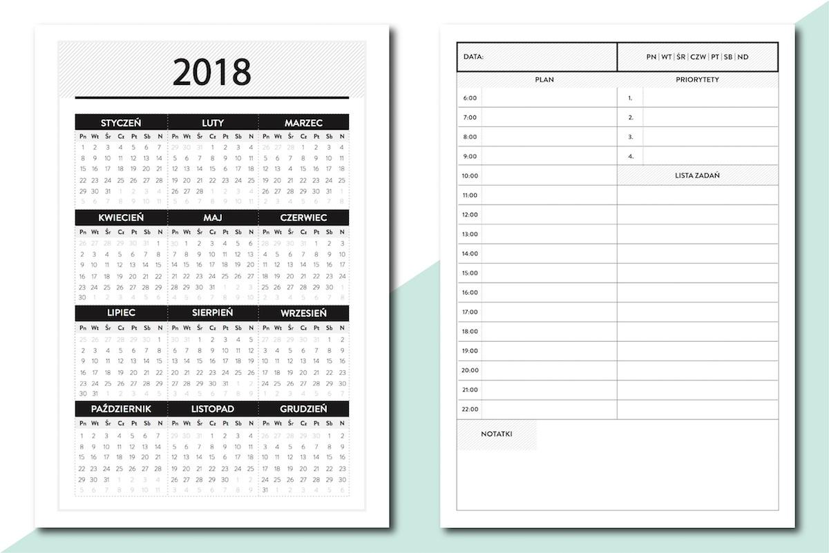 planer dzienny kalendarz 2018 do druku pdf pobrania