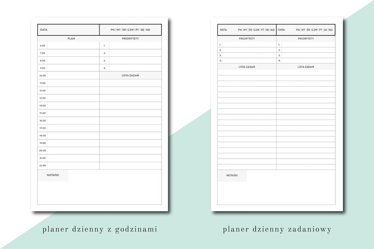 planer dzienny agenda dnia lista zadań do zrobienia PDF