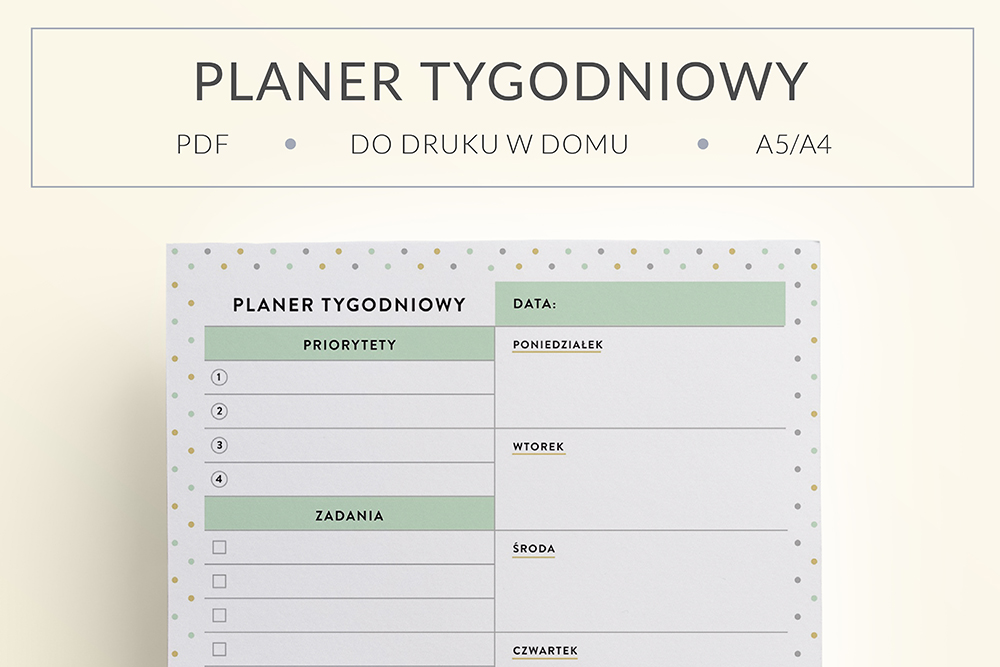 OgarniamSie PlanerTygodniowyKolorowy main - Planer tygodniowy do druku | kolorowy