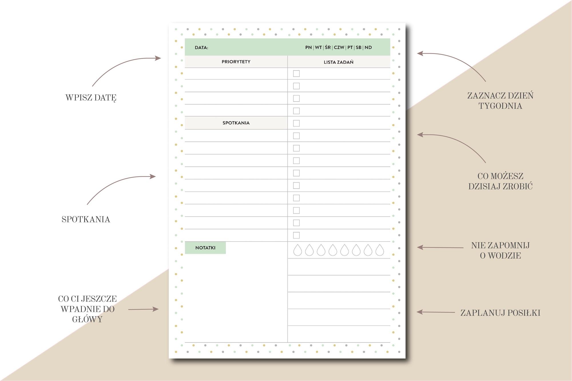 planer dzienny do druku lista zadań woda planowanie posiłków spotkania priorytety pdf