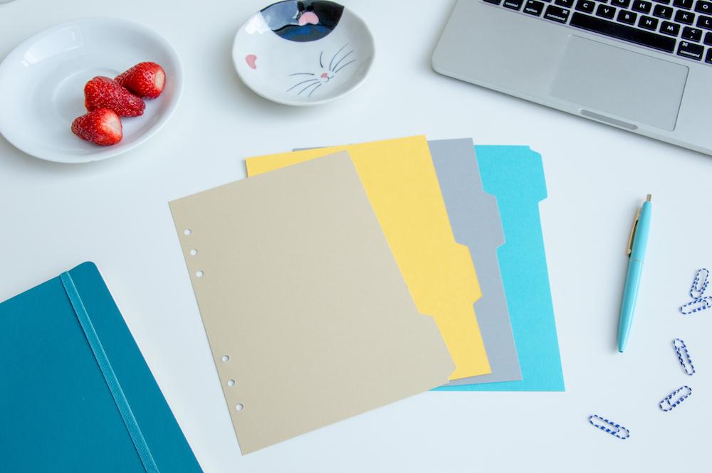 przekładki do organizera planer kartonowe 4 kolory a5