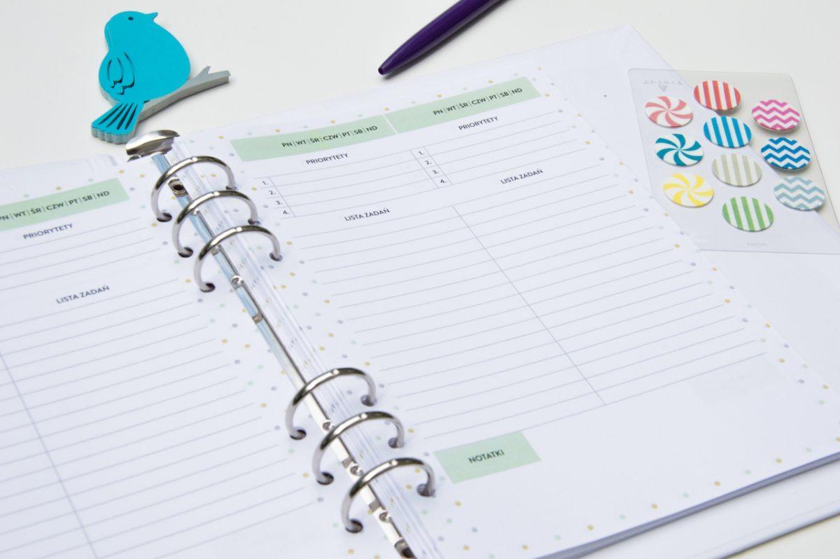 planer dzienny lista zadań to do wkład do organizera a5