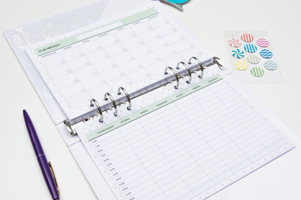 planer miesięczny tygodniowy wkład do organizera a5