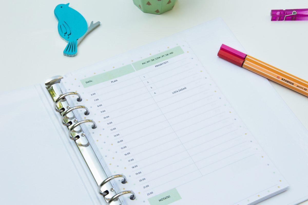 planer dzienny priorytety to do wkład do organizera a5