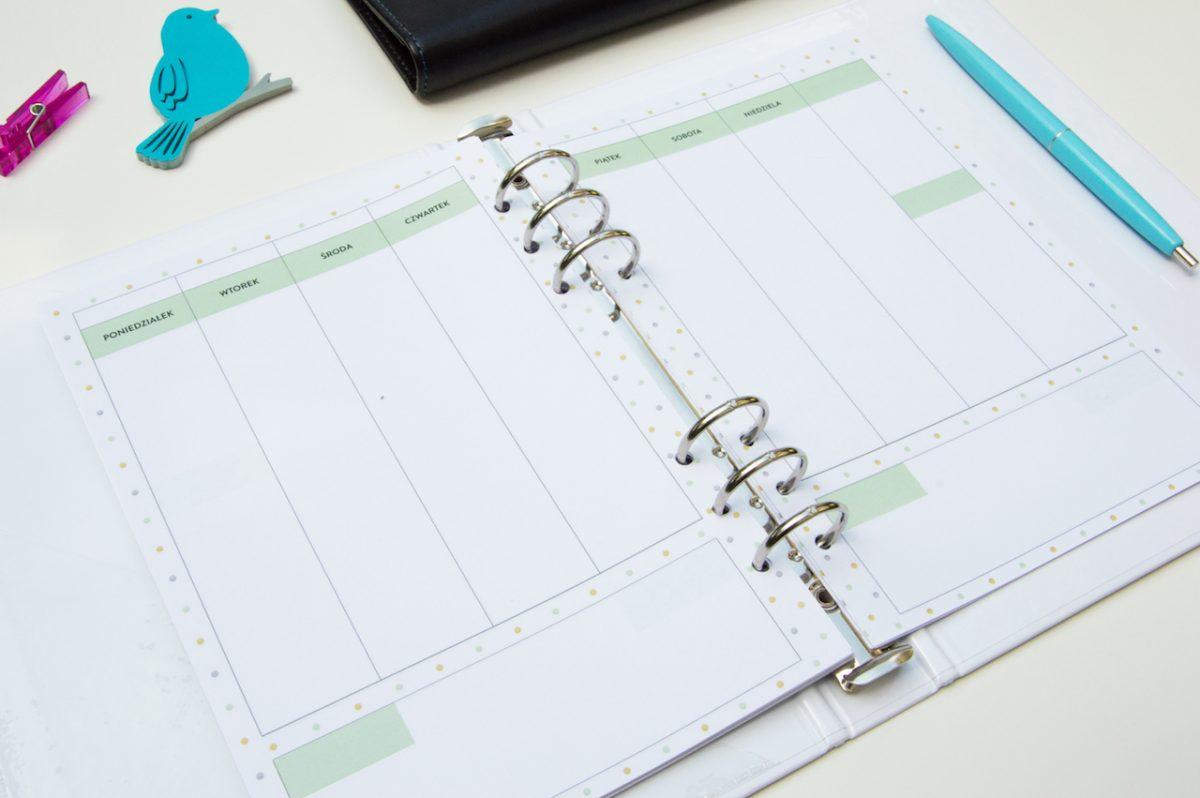 planer miesięczny tygodniowy dzienny wkład do organizera 2018