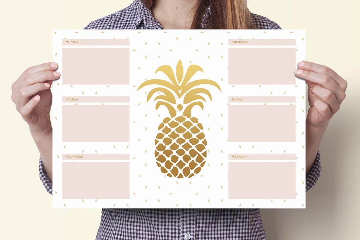 Planer na biurko Złoty ananas