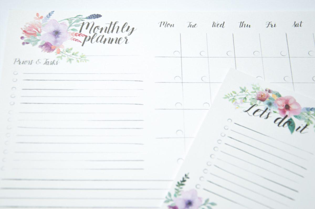 zestaw planerów kwiaty planer miesięczny lista zadań no do