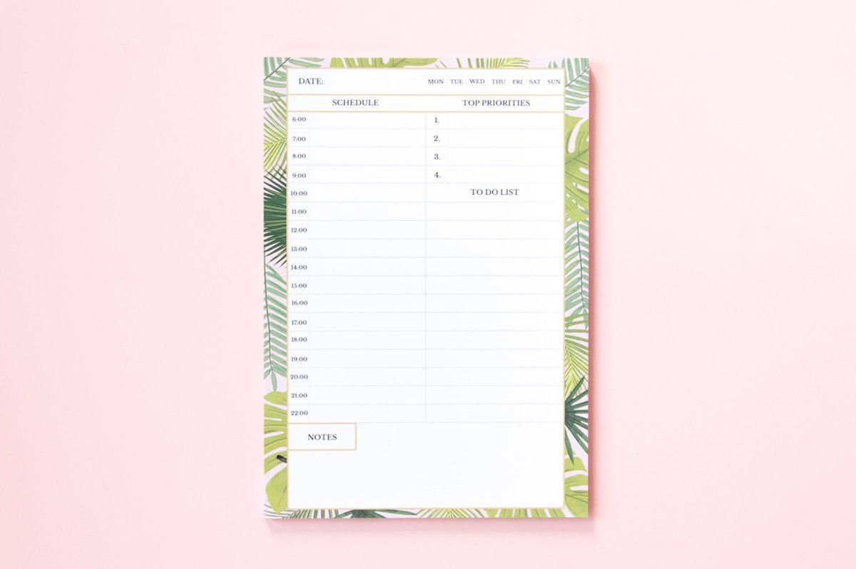 planer dzienny liście tropiklane