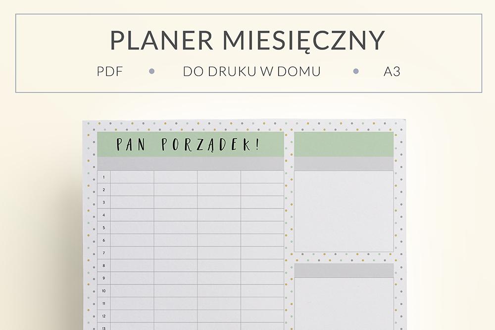 """OgarniamSie PlanerMiesiecznyPanPorzadek main - Miesięczny planer rodzinny do druku """"Pan Porządek"""""""