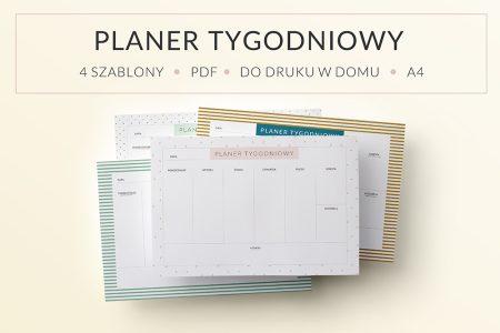 OgarniamSie PlanerTygodniowyBezDat main 450x300 - Planer tygodniowy do druku - bez dat, 4 różne szablony