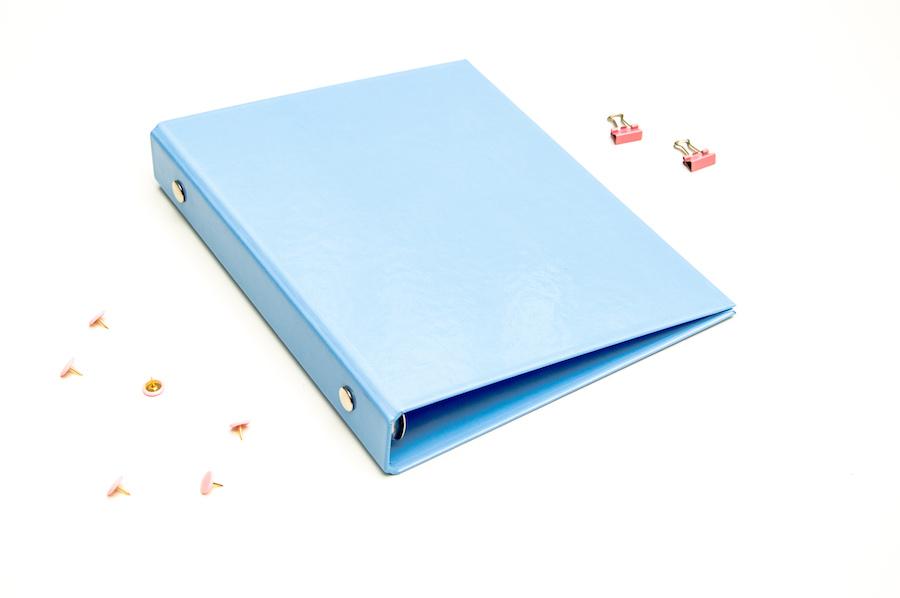 segregator a5 pastelowy niebieski organizer okładka