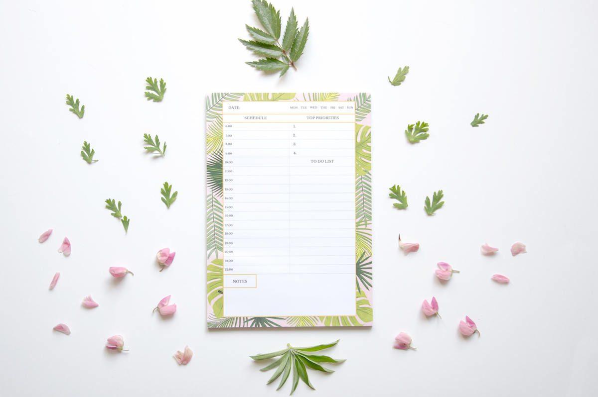 planer dzienny liście tropikalne