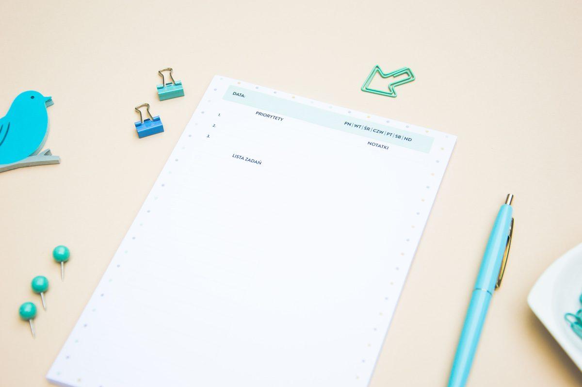 planer dzienny z notatkami