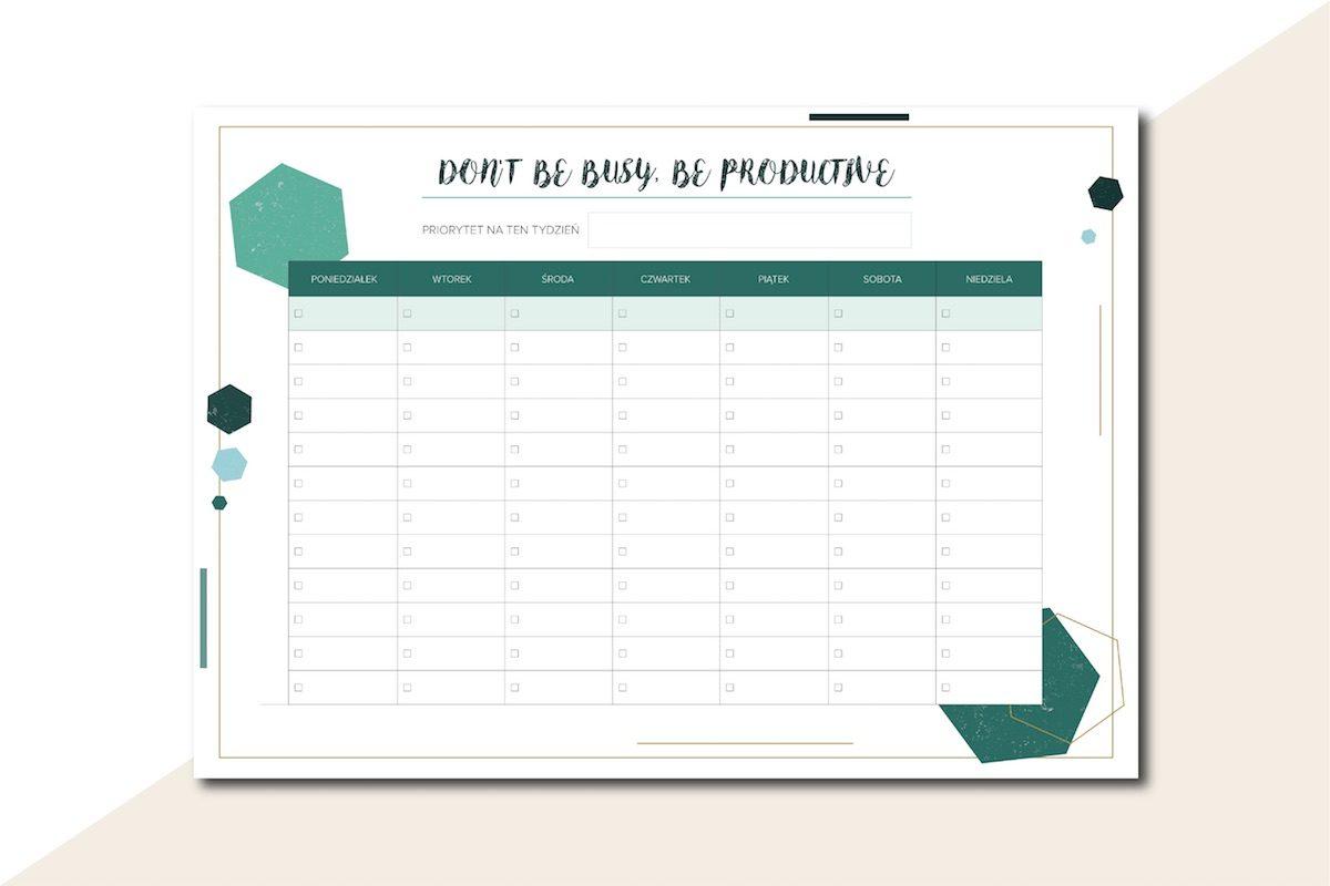 planer tygodniowy do druku lista zadań busy productive