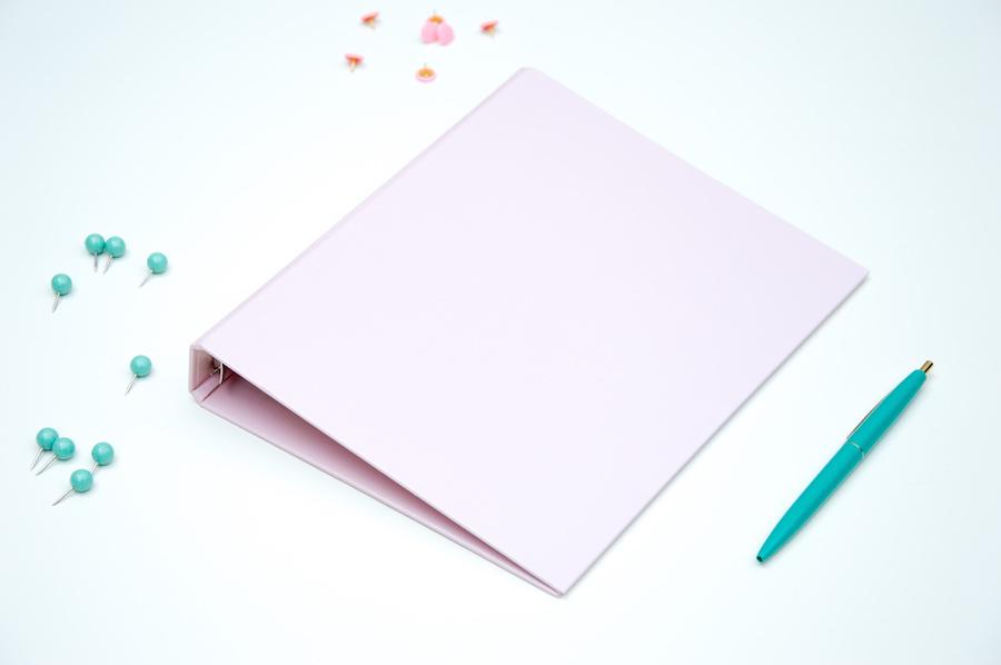 pastelowy różowy segregator organizer a5 okładka