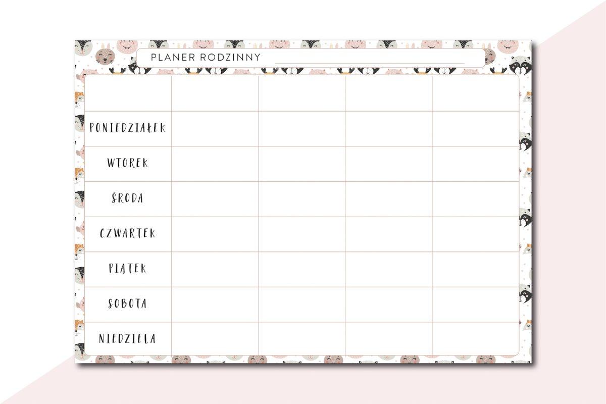 tygodniowy planer rodzinny do druku PDF pobrania