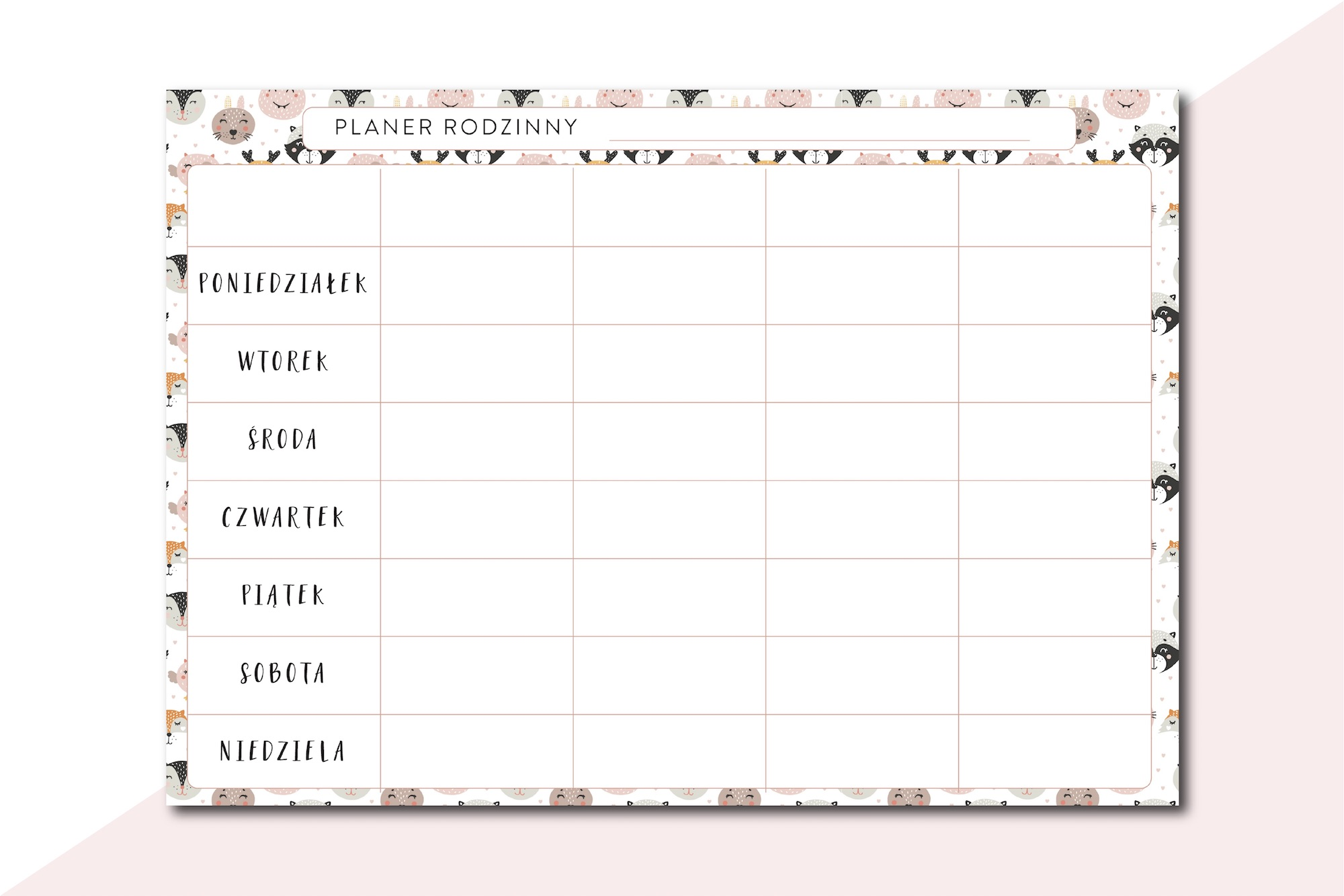 Tygodniowy planer rodzinny do druku zwierz tka for Planer com