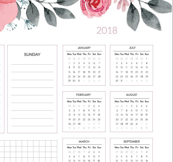 biuwar 2018 kwiaty kalendarz podkładka na biurko