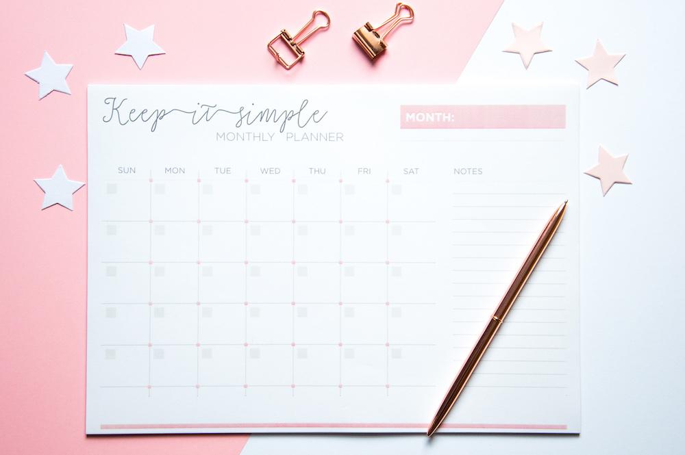planer miesięczny keep it simple