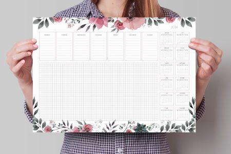 planer na biurko z kalendarzem 2018 z wyrywanymi kartkami do pisania