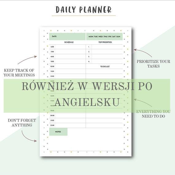 planner dzienny po angielsku
