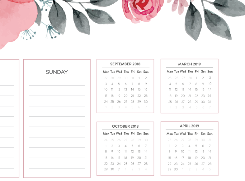 podkladka z kalendarzem 2018 2019