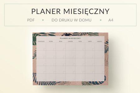 """OgarniamSie planer miesieczny monster do druku 450x300 - Planer miesięczny do druku, """"Różowe tropiki"""""""