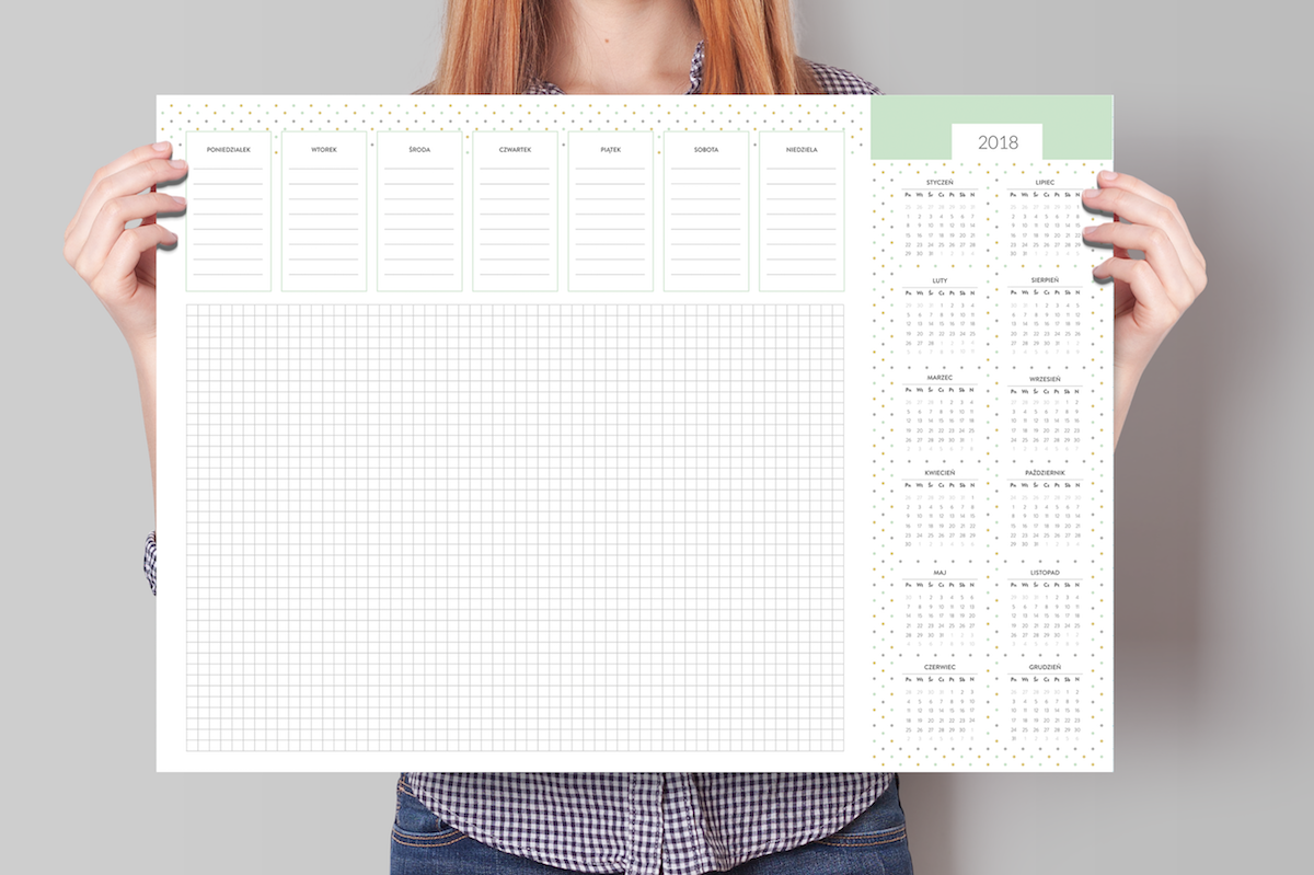 biuwar kalendarz na biurko 2018 duży podkładka planer