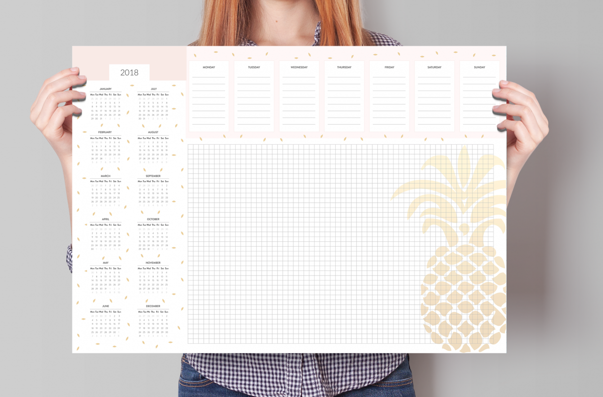 biuwar planer na biurko 2018 kalendarz duży a2
