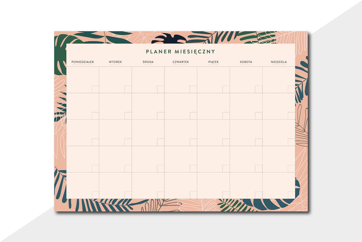 planer miesięczny do druku różowe tropiki