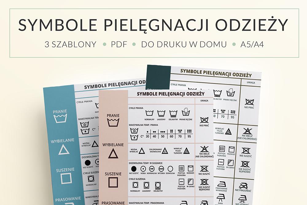 Symbole Prania Odzieży Plakat Do Druku Organizacja Domu