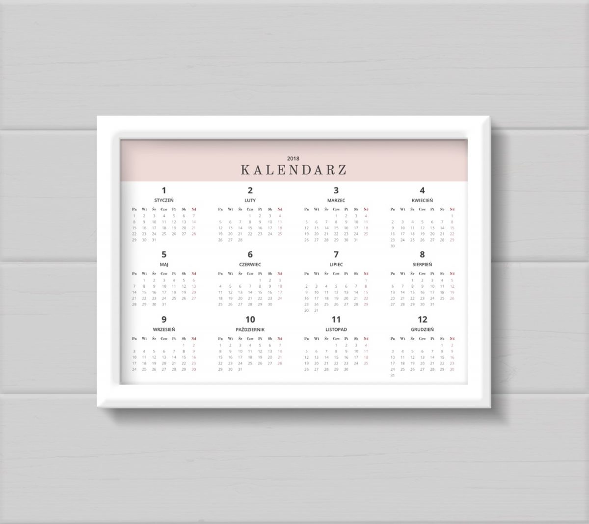 kalendarz 2018 planer miesięczny do druku pdf