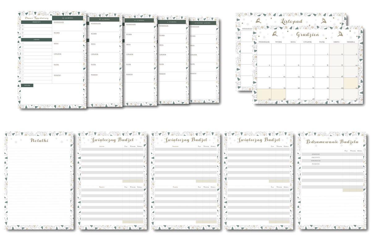 planer kalendarz przygotowań do świąt bożego narodzenia do pobrania druku