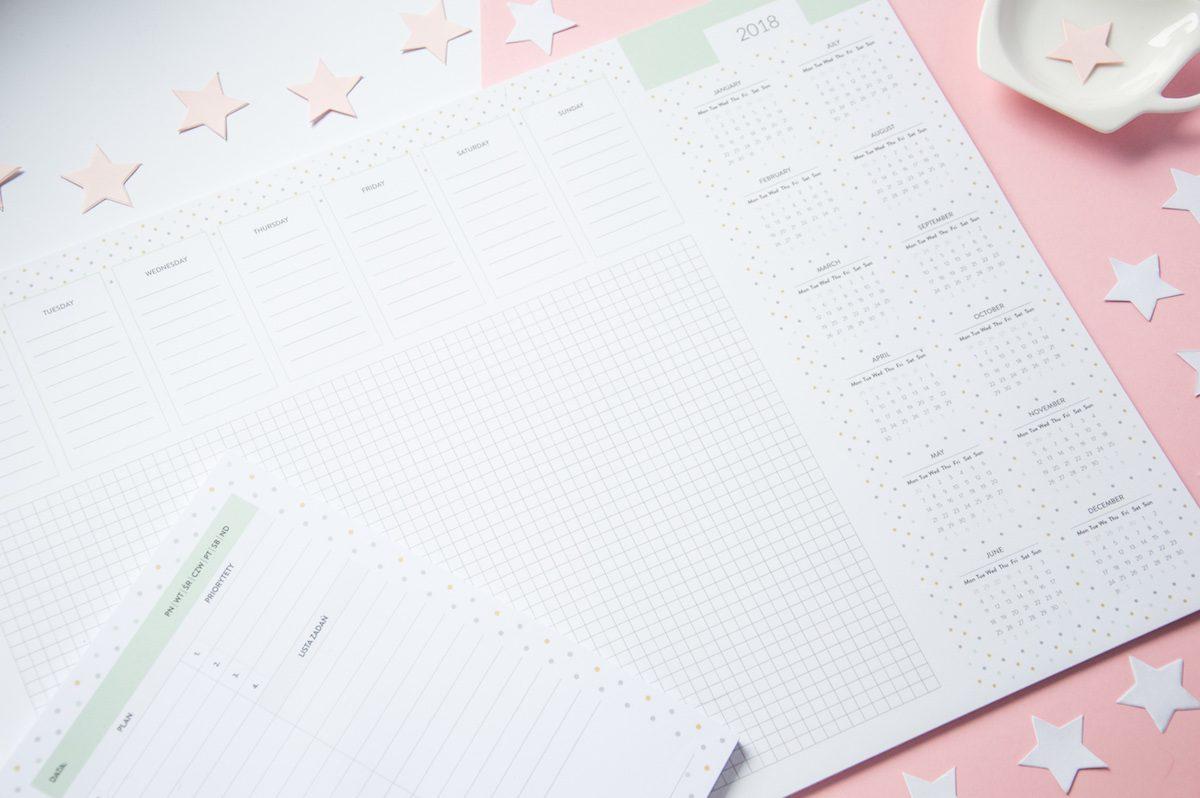 planer 2018 kalendarz podkładka na biurko dzienny i tygodniowy