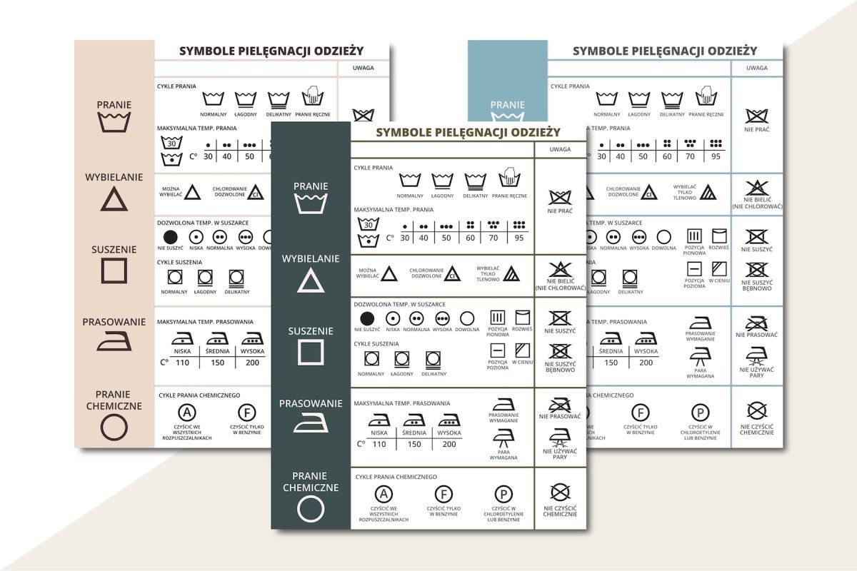 symbole pielęgnacji odzieży prania do druku pdf