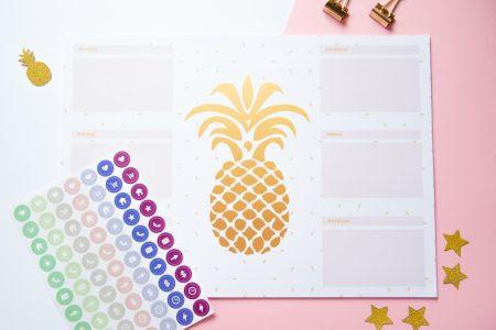 planer tygodniowy na biurko złoty ananas naklejki