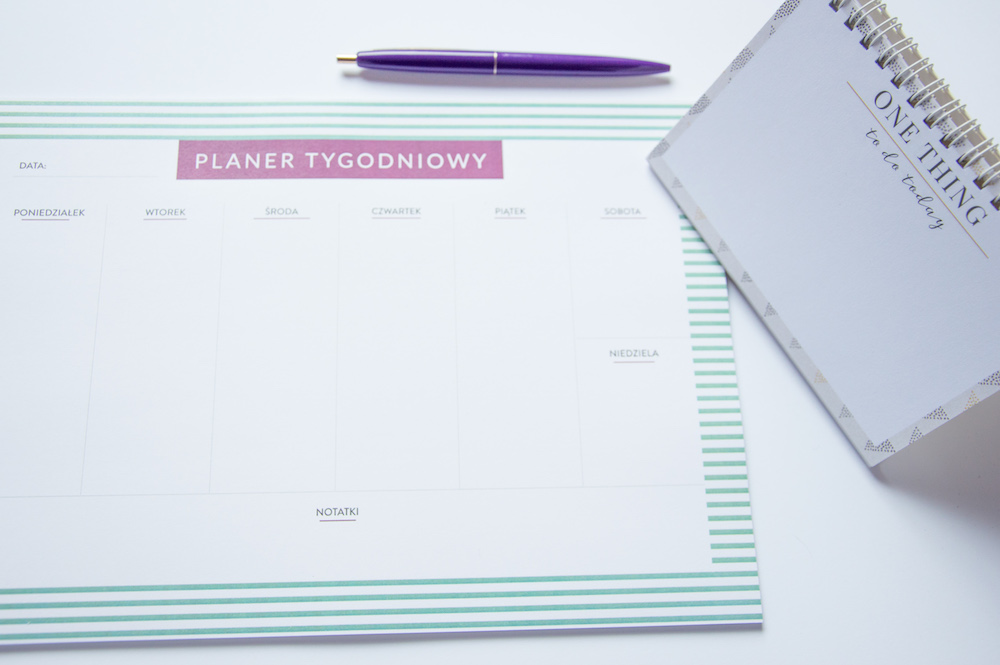 planer tygodniowy one thing na biurko