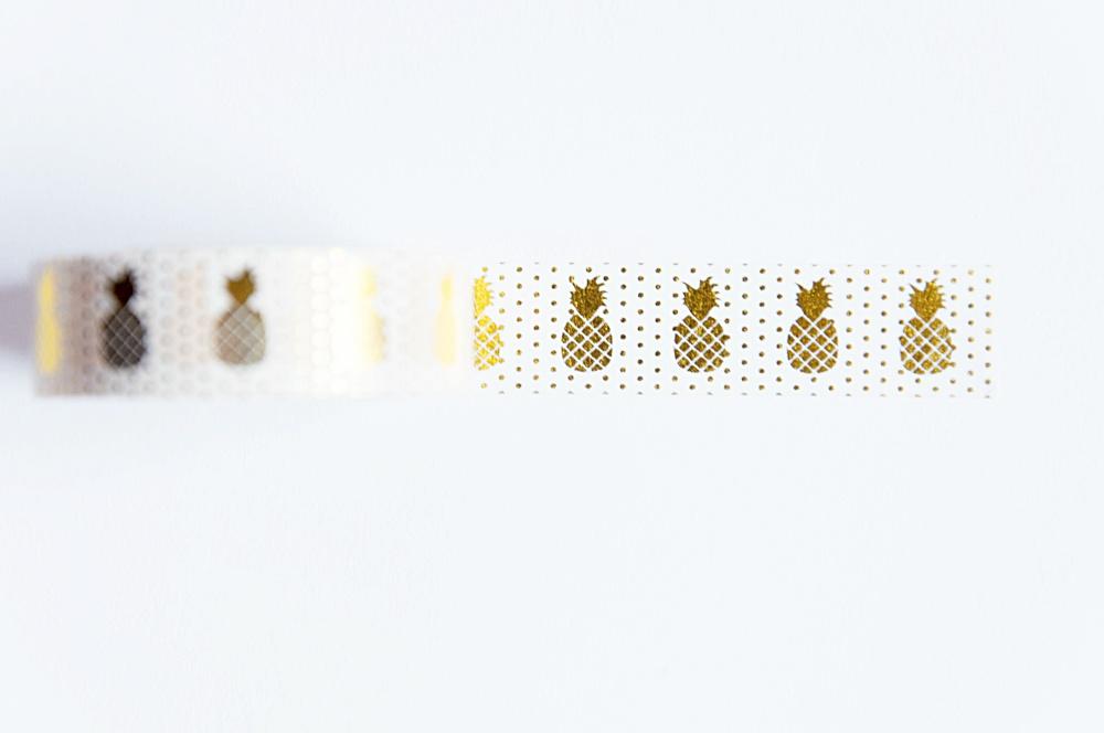 washi tape złote ananasy
