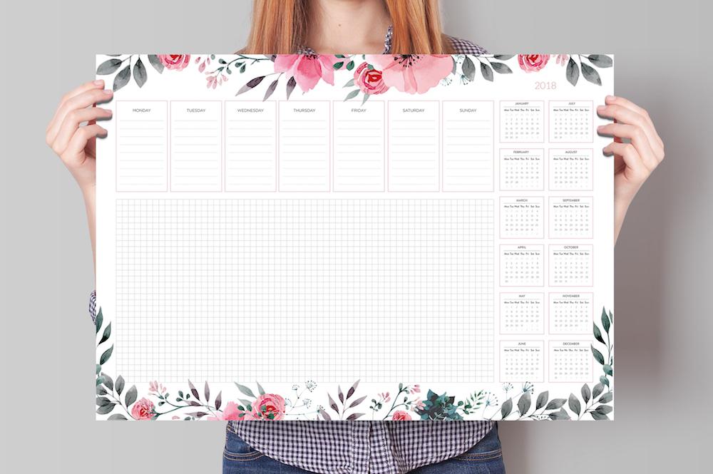podkładka na biurko kalendarz 2018 kwiaty